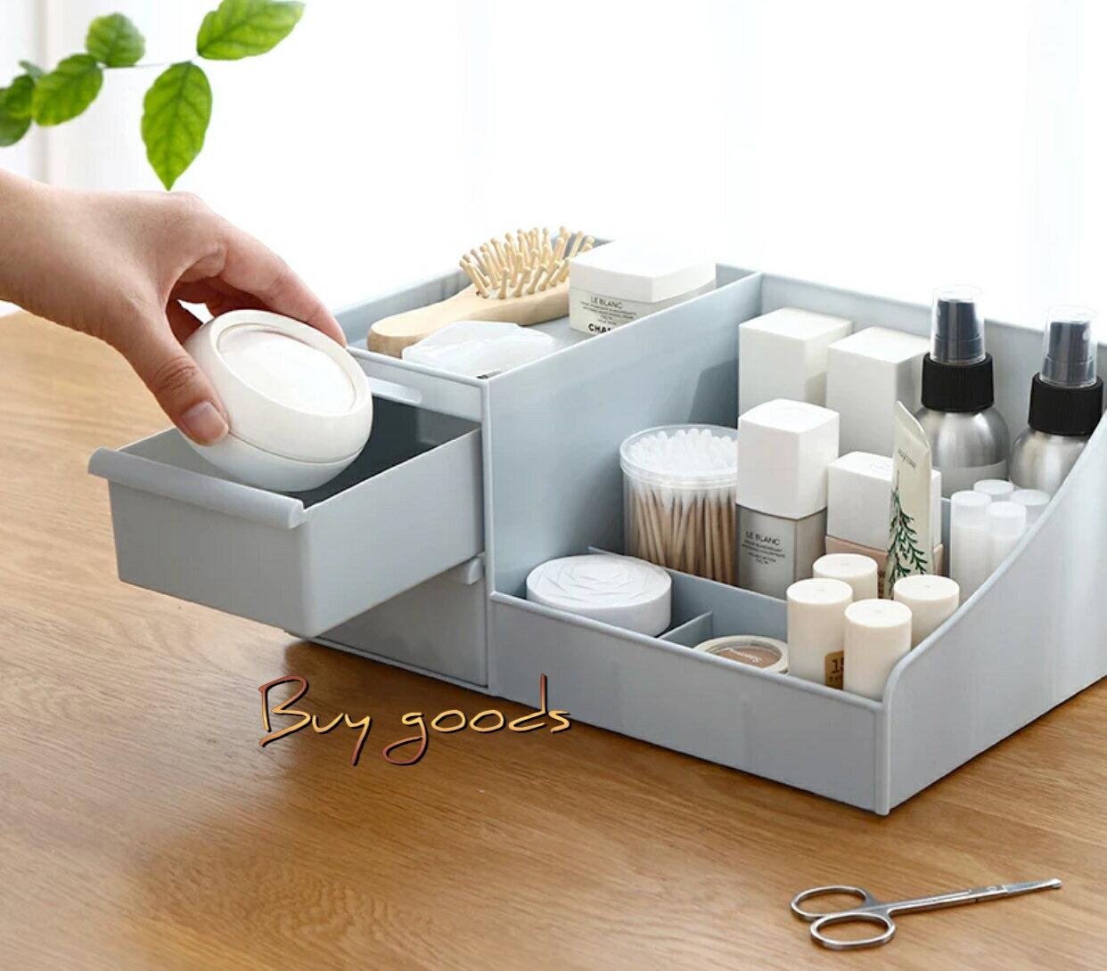 抽屜式化妝品收納盒 梳妝台收納