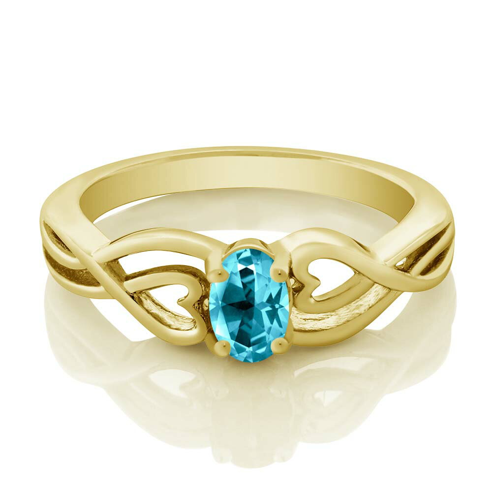 18K Yellow Gold Plated Silver Solitaire Ring Set with Paraiba Topaz from Swarovski 1