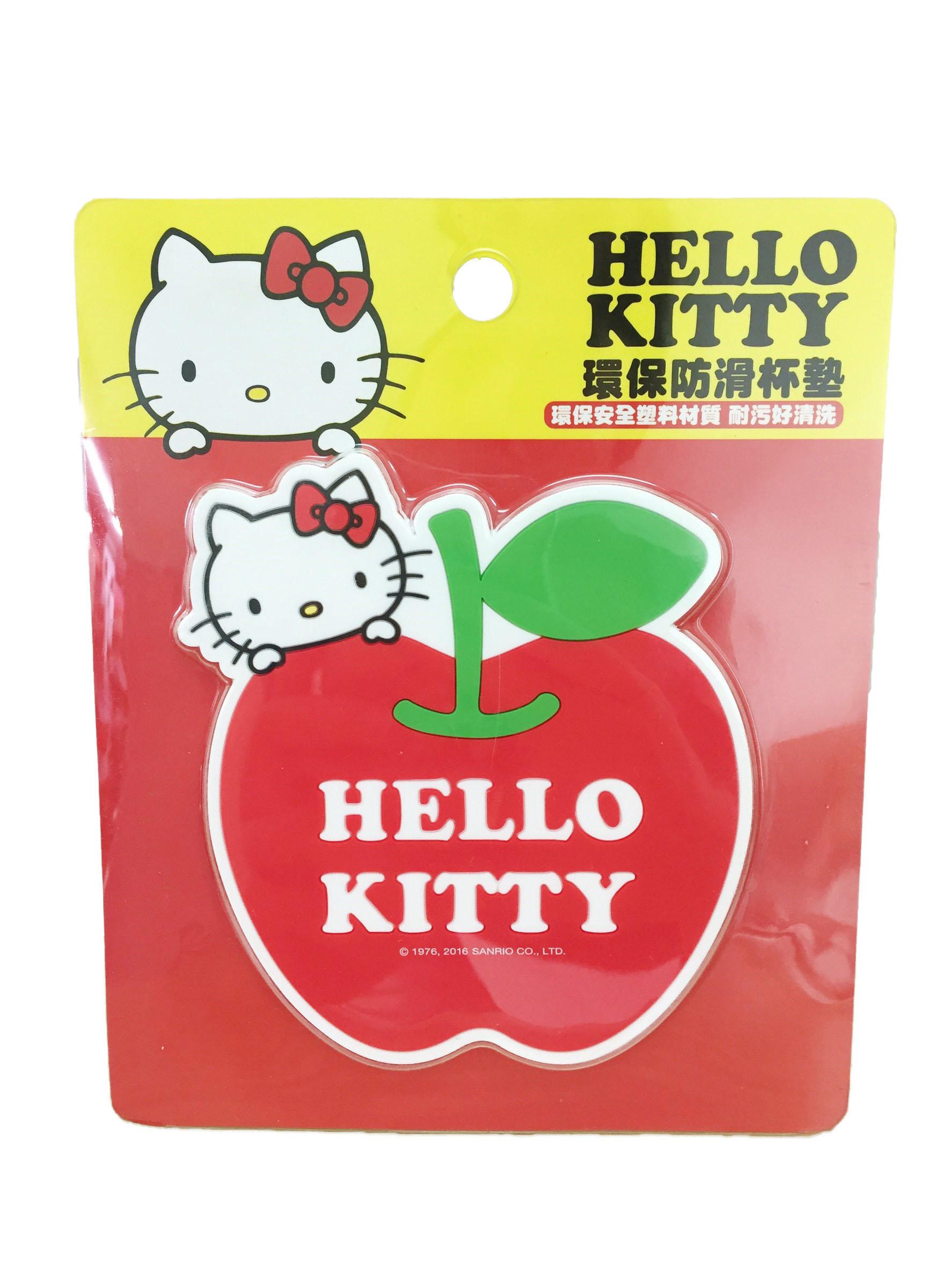 【真愛日本】16072700026環保防滑杯墊-KT蘋果紅  三麗鷗 Hello Kitty 凱蒂貓   杯墊  墊子 止滑