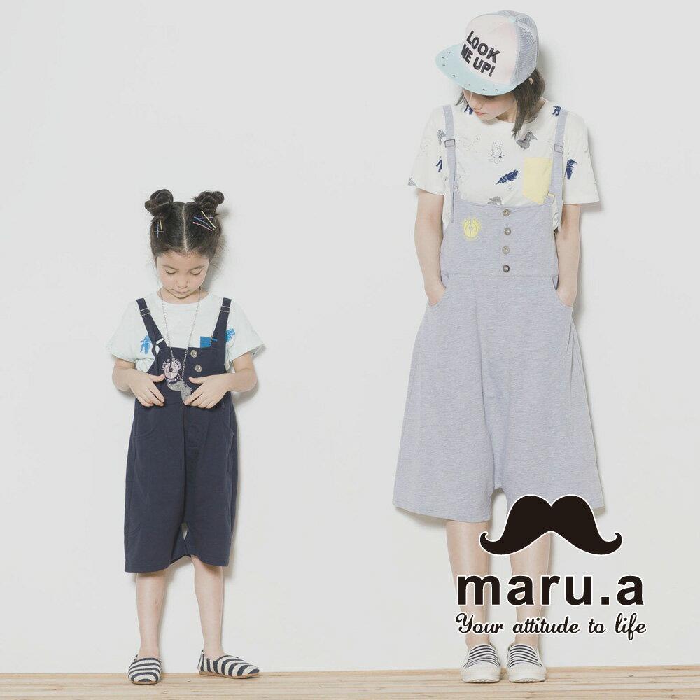 【maru.a】親子裝鶴刺繡低檔5分吊帶褲7315218 1
