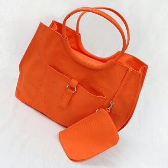【質衣館】大容量手感小格紋手提/肩背包-附加拉練收納小包-亮眼橘