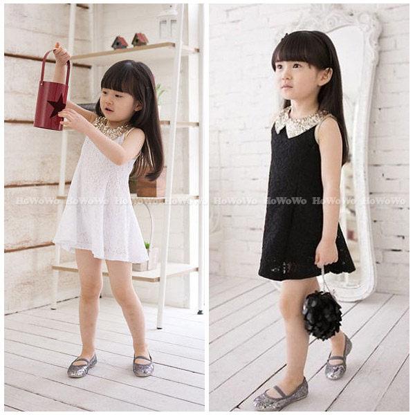 短袖洋裝 亮片花邊蕾絲連衣裙小禮服 童裝 FM050 好娃娃