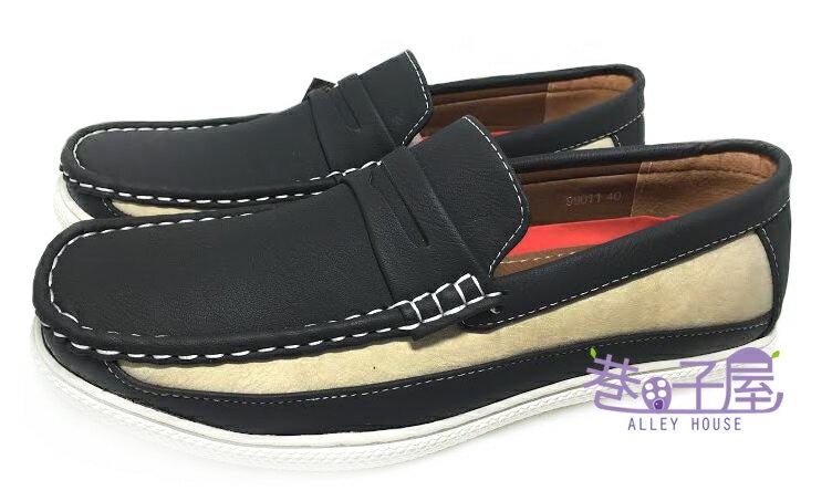 【巷子屋】DARK KNIGHT 男款奶油拼色懶人休閒鞋 [99011] 黑 超值價$398