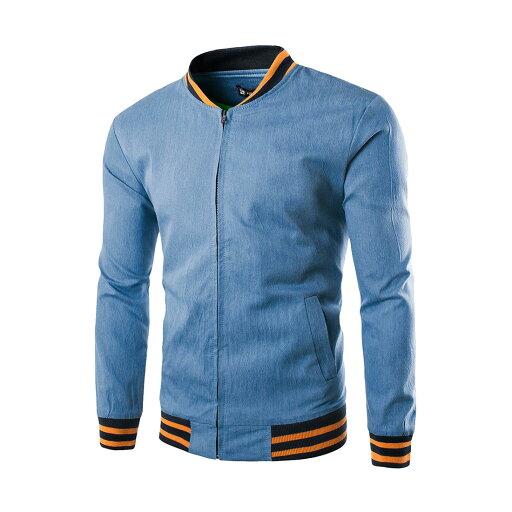 Men's Long Sleeve Full Zipper Stand Collar Slim Fit Jacket 09b2de49c94d815d3416ebac9471c1e3