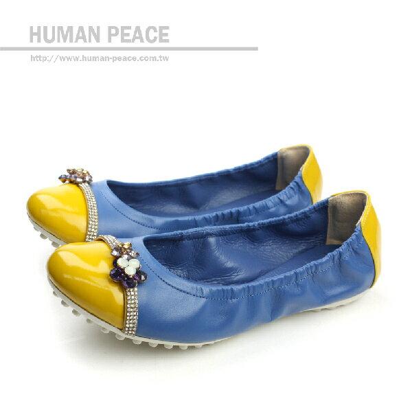 HUMAN PEACE 皮革 蝴蝶結 舒適 好穿脫 鬆緊 戶外休閒鞋 藍色 女鞋 no14