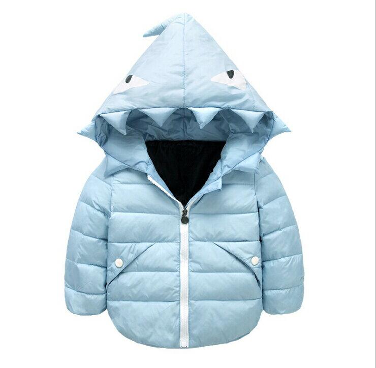WallFree窩自在★兒童時尚小怪獸羽絨衣 保暖外套 男童 女童 (110)藍色