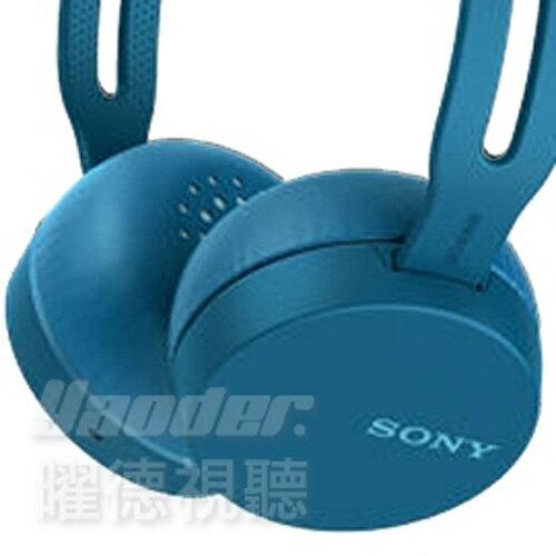 【曜德★送收納袋】SONYWH-CH400藍無線藍芽立體聲耳罩式耳機★免運★