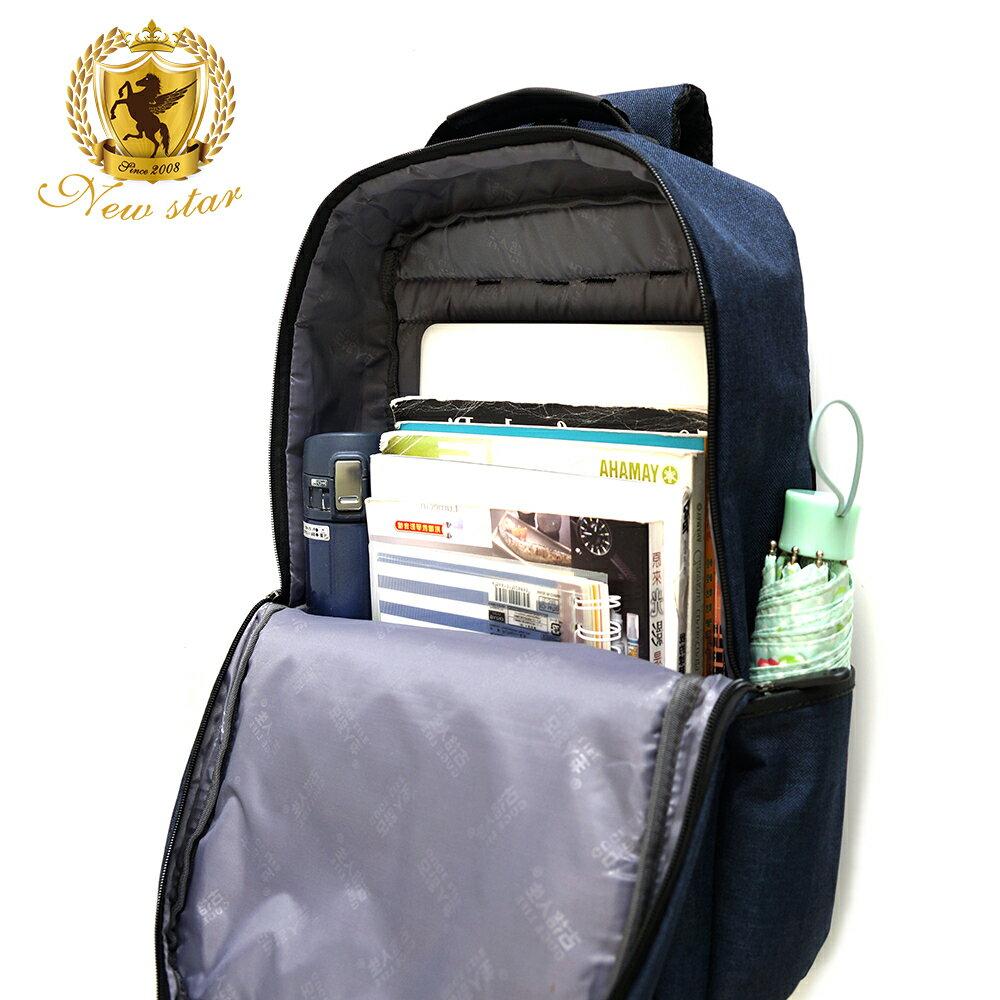 韓風簡約時尚防水雙層拉鍊口袋後背包包 NEW STAR BK238 7