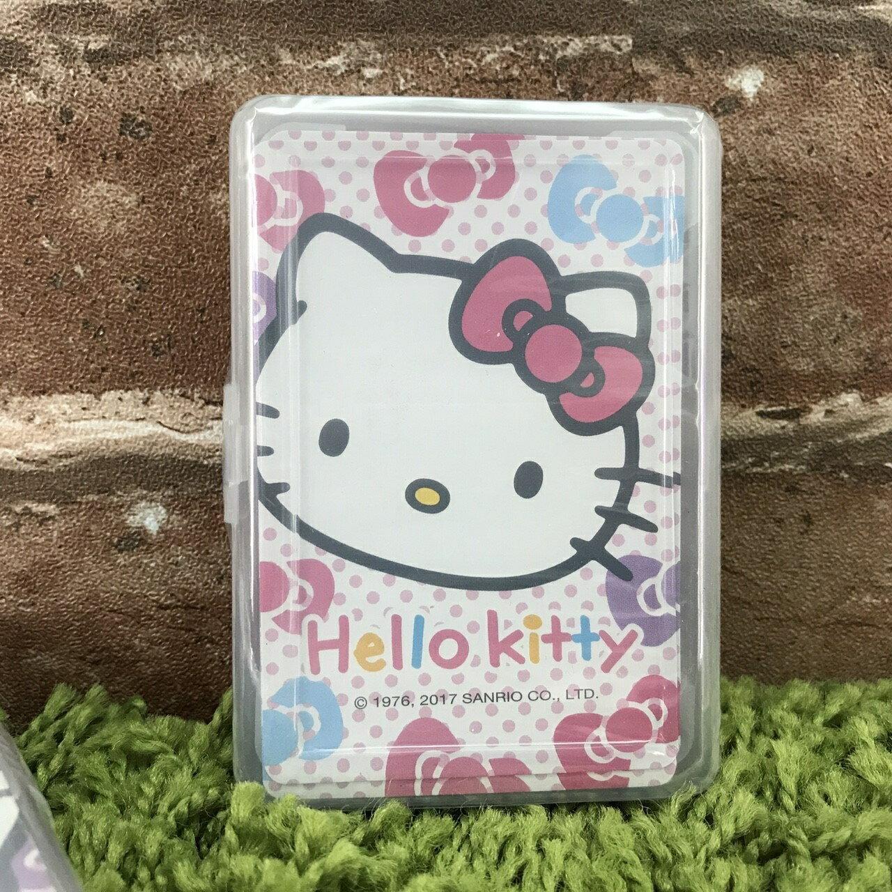 【真愛日本】17090900007 新潮撲克牌-KT大臉彩結 三麗鷗 kitty 凱蒂貓 桌遊 休閒娛樂 玩具