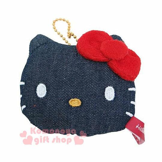 〔小禮堂〕Hello Kitty 造型娃娃吊飾《深藍.大臉型.附珠鍊》牛仔布材質