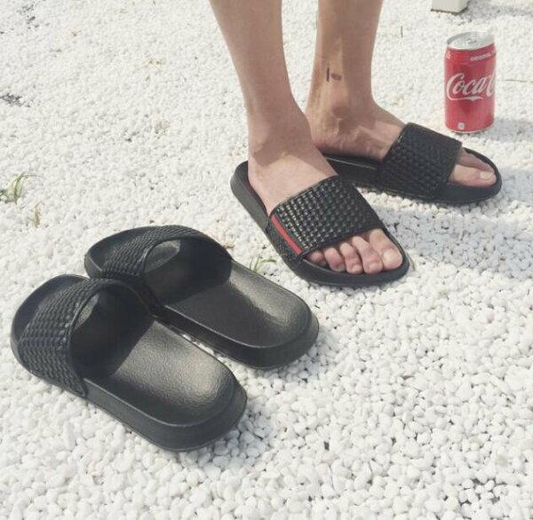 FINDSENSEMD日系流行時尚潮男編織拖鞋室內拖鞋一字拖海灘鞋涼鞋