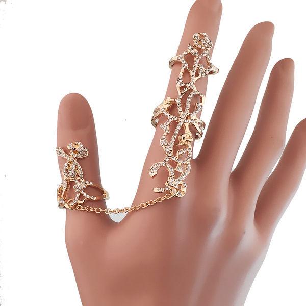 PS Mall 玫瑰花水鑽鑲鑽鏤空一體手飾可調節戒指~G2363~ ~  好康折扣