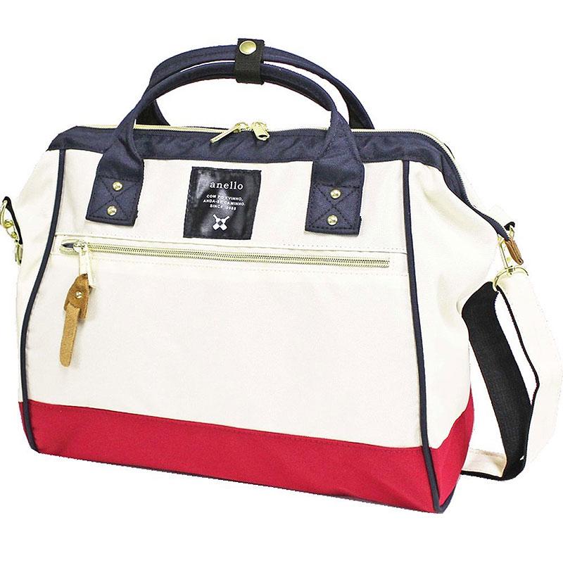 anello 紅白色 側背手提兩用包 日本帶回正版 帆布水洗 A4也放的下! AT-H0852