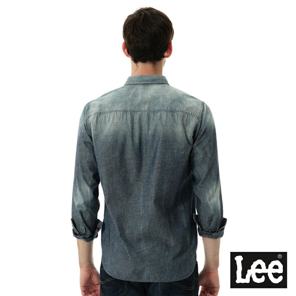 Lee 牛仔襯衫 棉點竹節深淺漸層 -男款-中古淺藍 1
