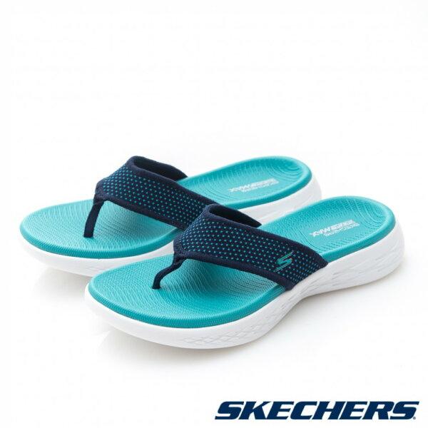 SKECHERSON-THE-GO600女鞋拖鞋夾腳人字休閒彈力舒適藍【運動世界】15300NVTQ