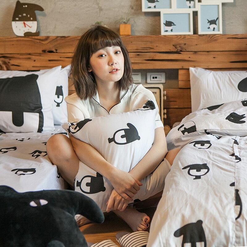抱枕-100%精梳棉【經典黑白款-馬來貘的日常】方型抱枕50X50CM,戀家小舖,台灣製