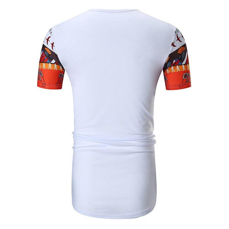 FINDSENSE H1 2018 夏季 新款 印花口袋 復古圖案 圖騰 圓弧下擺 大碼 短袖 T恤 潮流 時尚 男