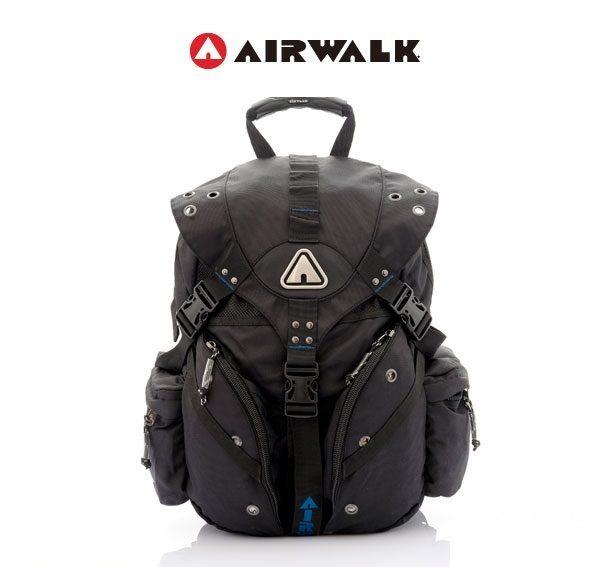 AIRWALK街頭系列-美式潮流三叉釦尼龍後背包(藍)(大容量)