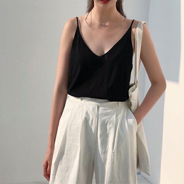 PS Mall V領短款針織吊帶背心女簡約百搭內搭上衣【T592】 0