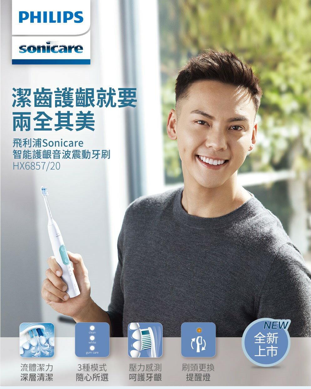 【飛利浦】Sonicare智能護齦音波震動牙刷(晶綠白,附旅行盒) HX6857/20