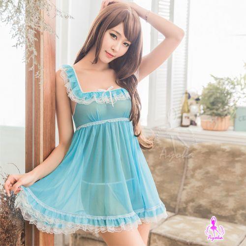 愛的蔓延水藍柔紗荷葉裙襬二件式性感睡衣甜美睡衣NA16020113