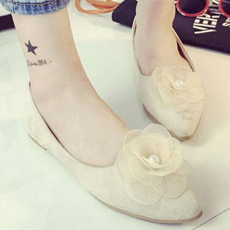 尖頭鞋 浪漫珍珠花朵尖頭平底包鞋【S1583】☆雙兒網☆ 4
