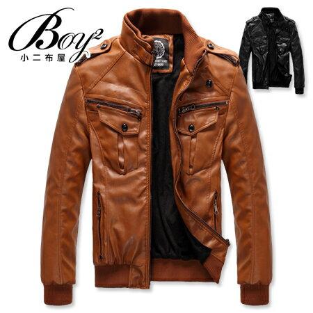 ☆BOY-2☆【NZ78005】羅紋立領機車皮衣外套 0