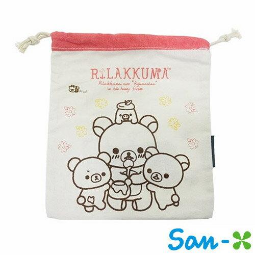 【日本進口正版】 San-X 拉拉熊 帆布 束口袋 收納袋 抽繩束口袋 懶懶熊 Rilakkuma - 220654