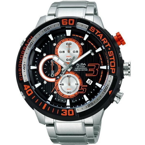 ALBA VD57-X048D(AM3141X1)紅罐頭潛水風計時腕錶/黑面49mm