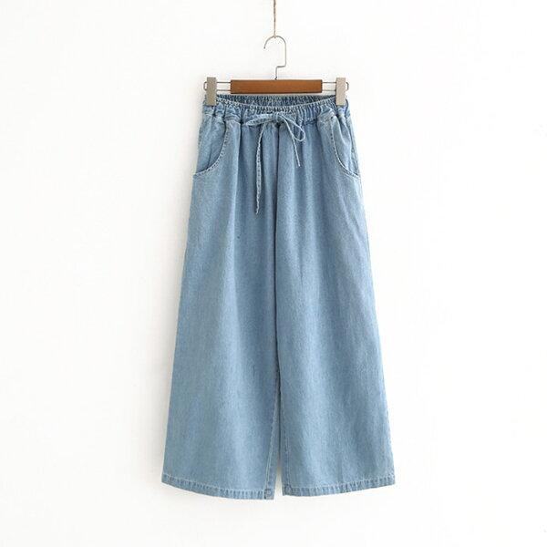 抽繩鬆緊腰口袋九分牛仔寬褲樂天時尚館。預購。[全店免運]