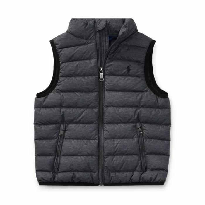 國百分百【Ralph Lauren】羽絨 背心 外套 RL 上衣 Polo 小馬 立領 鐵灰 XS S號 青年版 I735