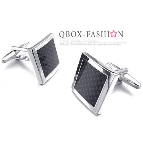 《 QBOX 》FASHION 配飾【W10023359】精緻個性簡約方型碳纖維電鍍銅質造型袖扣