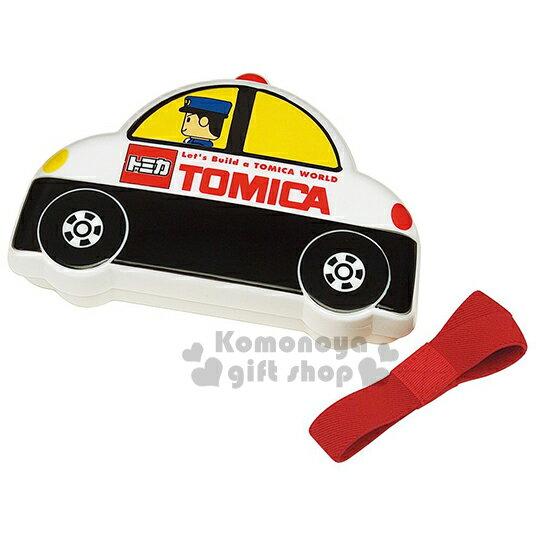 〔小禮堂〕 TOMICA 多美小汽車 警車造型便當盒《白黑.警察.310ml》附鬆緊帶