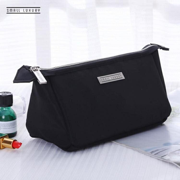 韓國旅行化妝品收納包袋大容量便攜小號手拿黑色簡約可愛化妝包女  居家物語