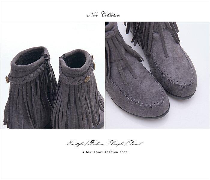 ★399免運★格子舖*【KS1901】羅馬風時尚質感麂皮流蘇 3CM隱形內增高 拉鍊穿拖 短筒靴 短靴 2色 3
