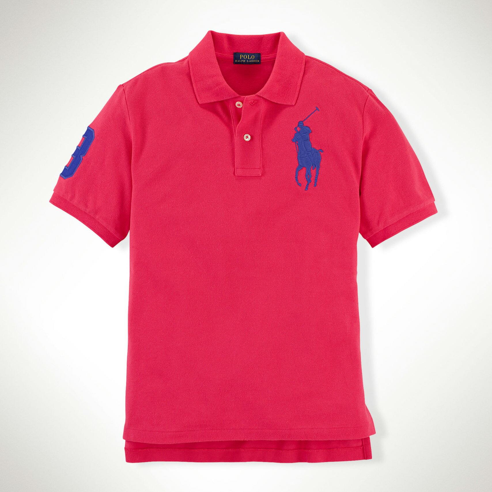美國百分百【Ralph Lauren】Polo 衫 RL 短袖 網眼 大馬 素面 西瓜紅 男 S XS號 B003