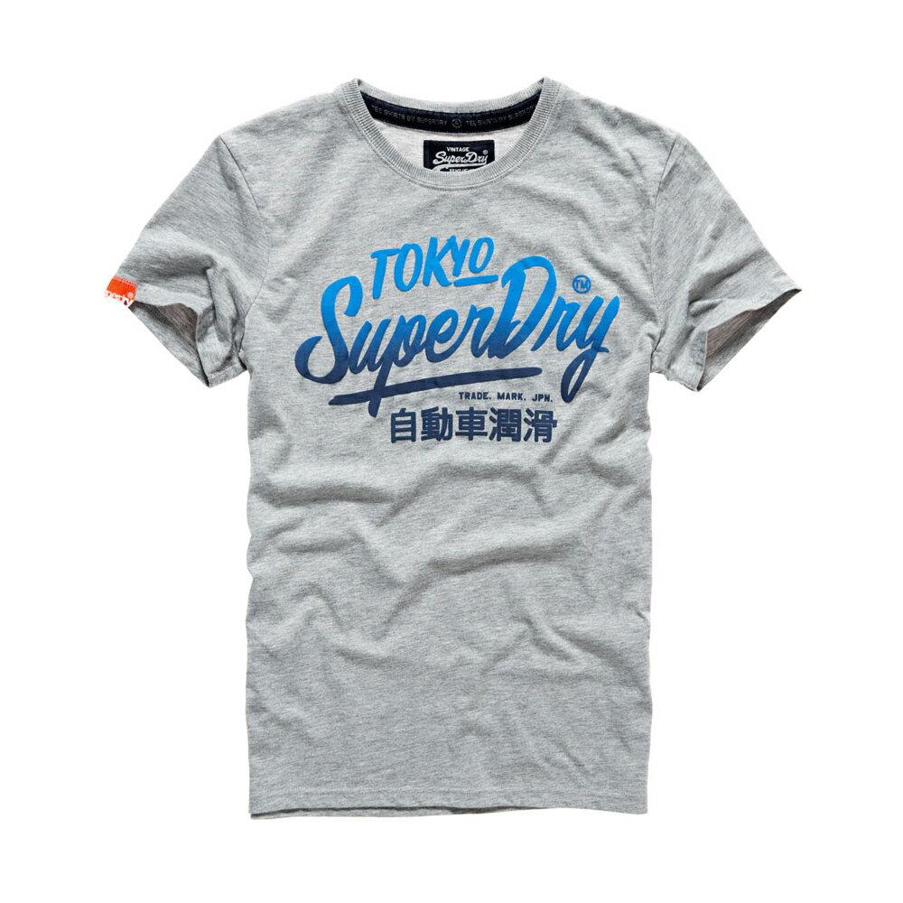 美國百分百【Superdry】極度乾燥 T恤 上衣 T-shirt 短袖 短T 圓領 淺灰 漸層 復古 S M L XL 2XL號 F316