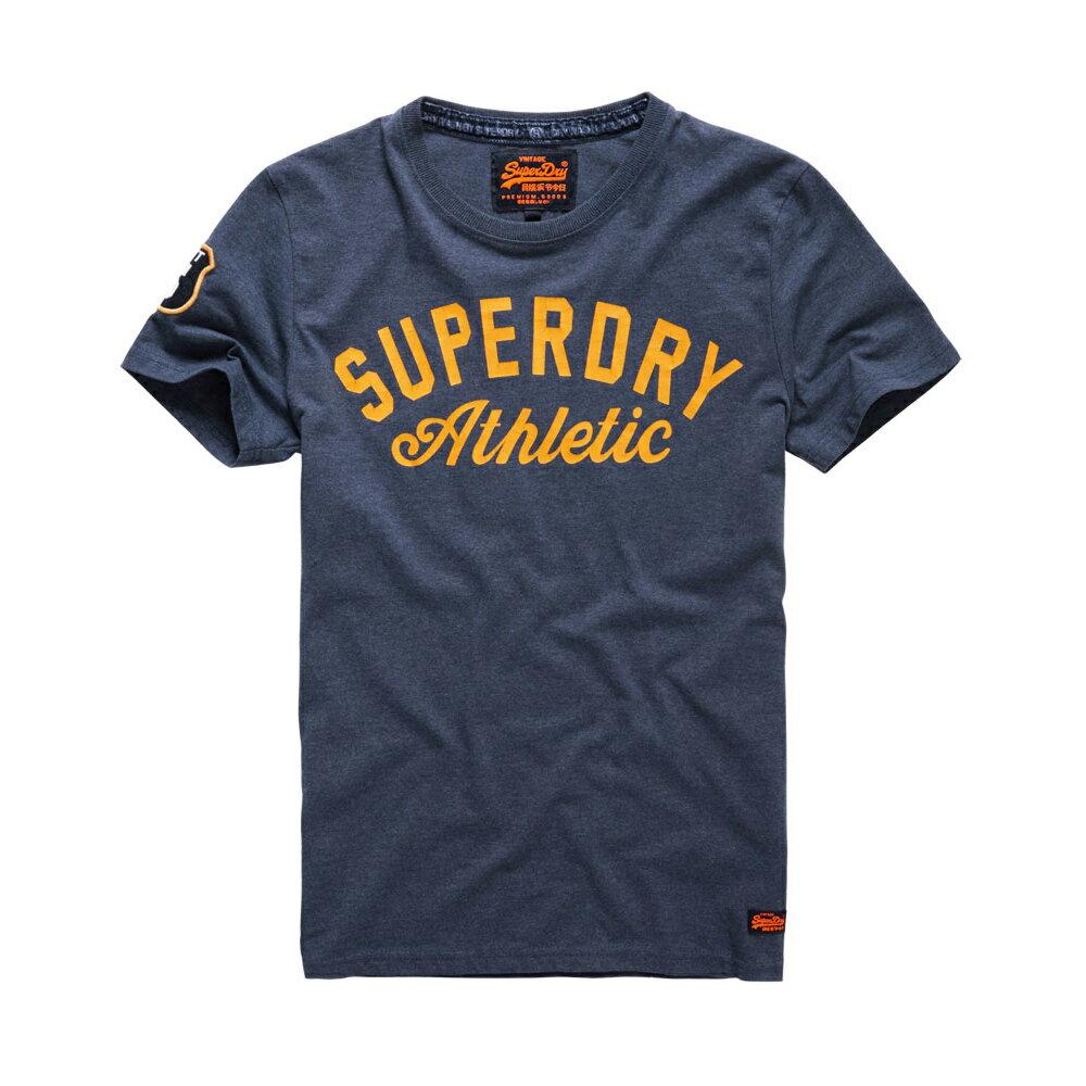 美國百分百【Superdry】極度乾燥 T恤 上衣 T-shirt 短袖 短T 圓領 藏藍 logo 復古 S M L號 F318