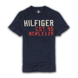 美國百分百【Tommy Hilfiger】T恤 TH 男 圓領 T-shirt 短袖 短T 深藍 文字 XS號 F323
