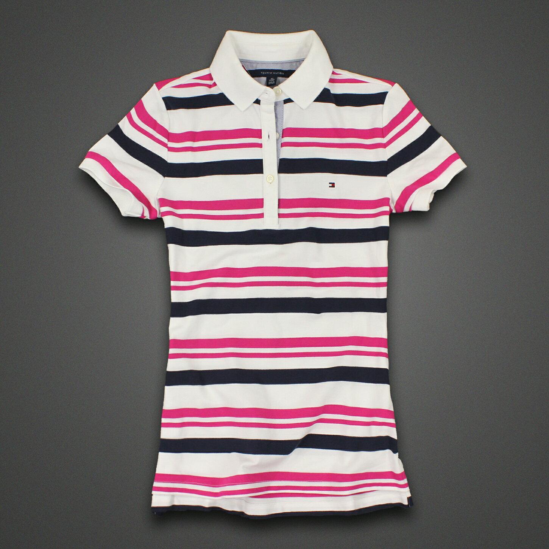 美國百分百【Tommy Hilfiger】POLO衫 TH 女衣 網眼 短袖 腰身 顯瘦 條紋 桃紅 深藍 白 XS號 F326