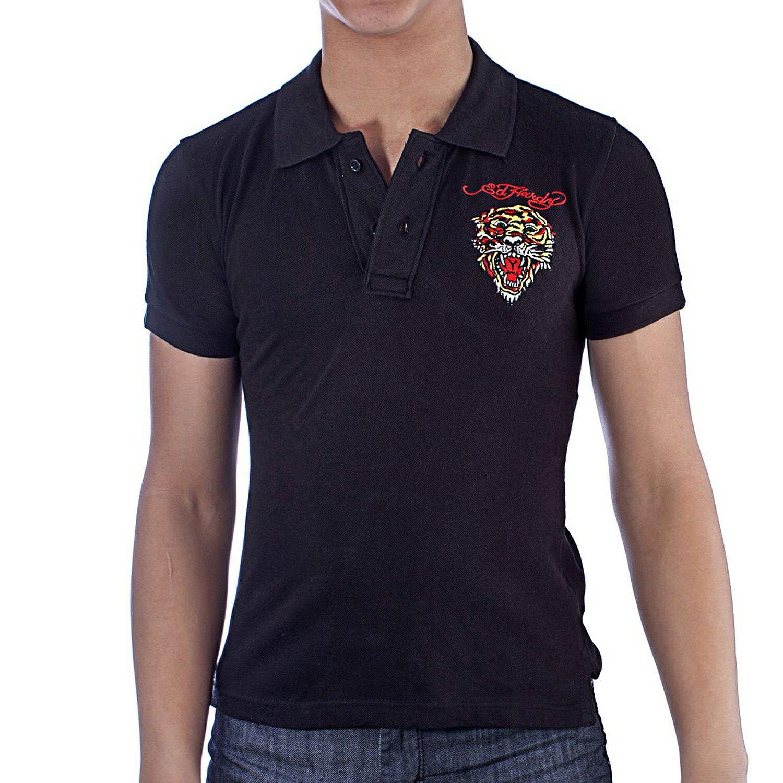 美國百分百【ED HARDY】Polo衫 短袖 網眼 素面 虎頭 刺繡 經典 黑色 男 XXS XS號 F329