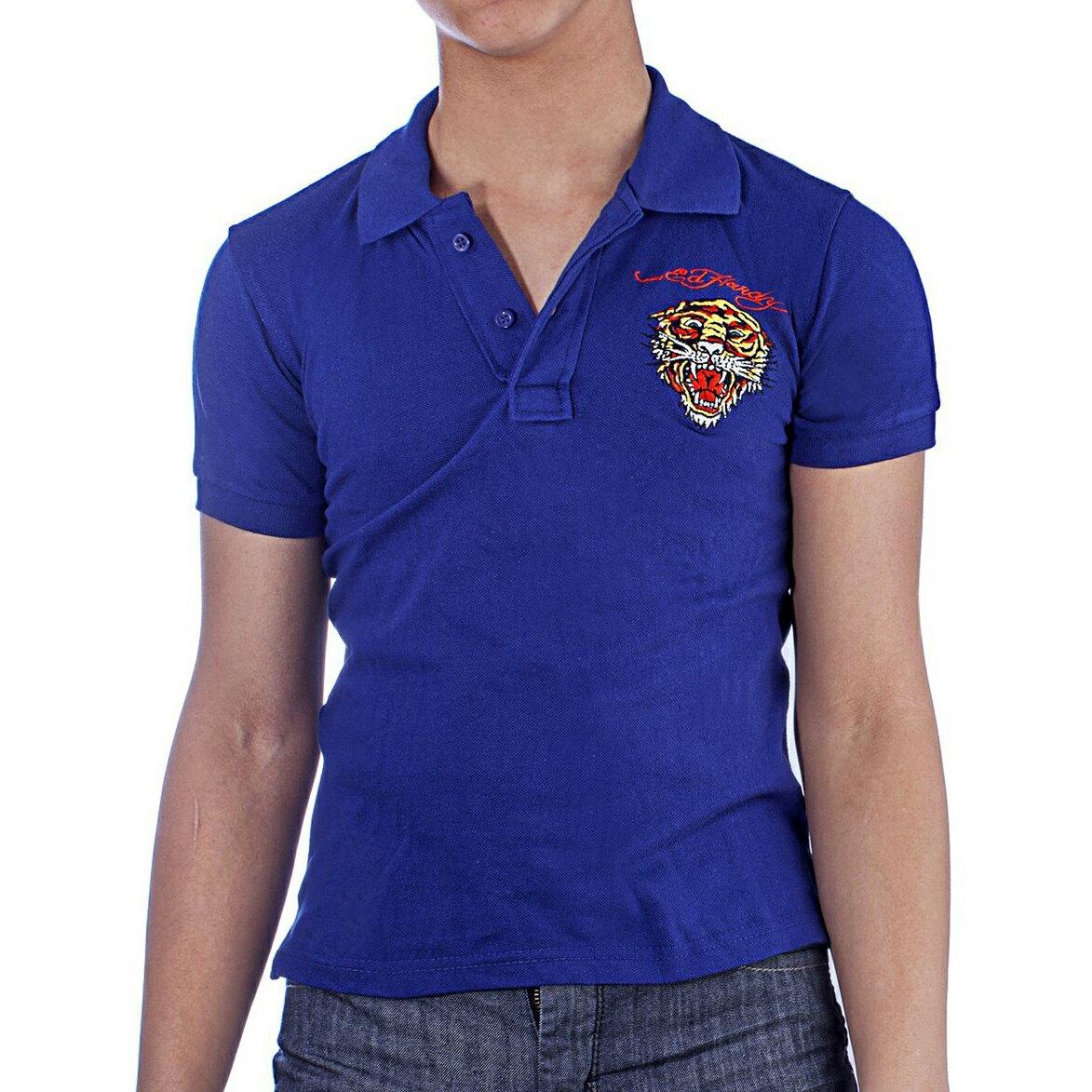 美國百分百【ED HARDY】Polo衫 短袖 網眼 素面 虎頭 刺繡 經典 寶藍色 男 XXS XS S號 F329