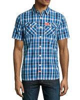 極度乾燥商品推薦到美國百分百【全新真品】Superdry 襯衫 短袖 上衣 格紋 雙口袋 深藍 藍色 極度乾燥 男 M L號 F338就在美國百分百推薦極度乾燥商品