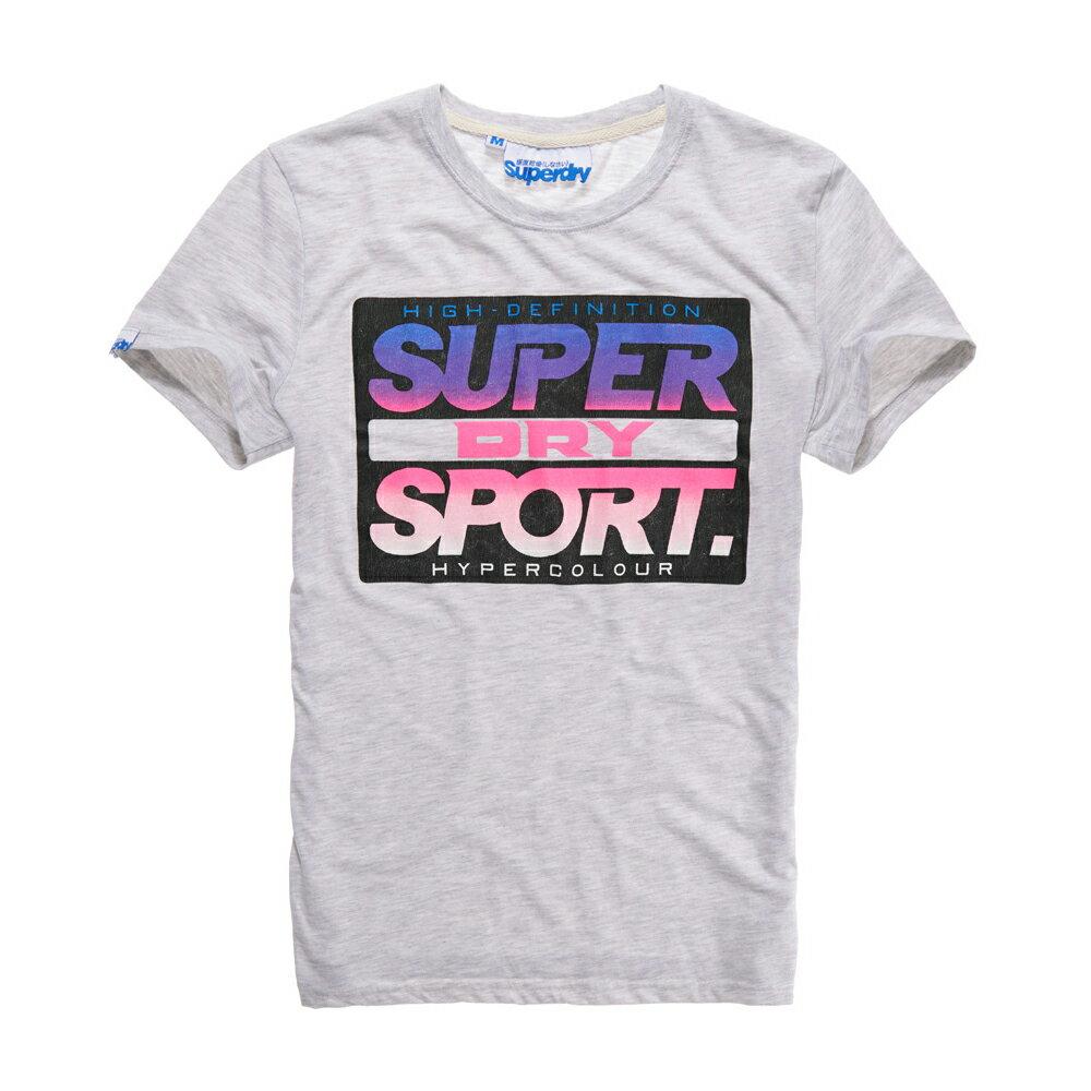美國百分百【Superdry】極度乾燥 T恤 上衣 T-shirt 短袖 短T 圓領 復古 霓虹 螢光粉 灰色 S M L號 F340