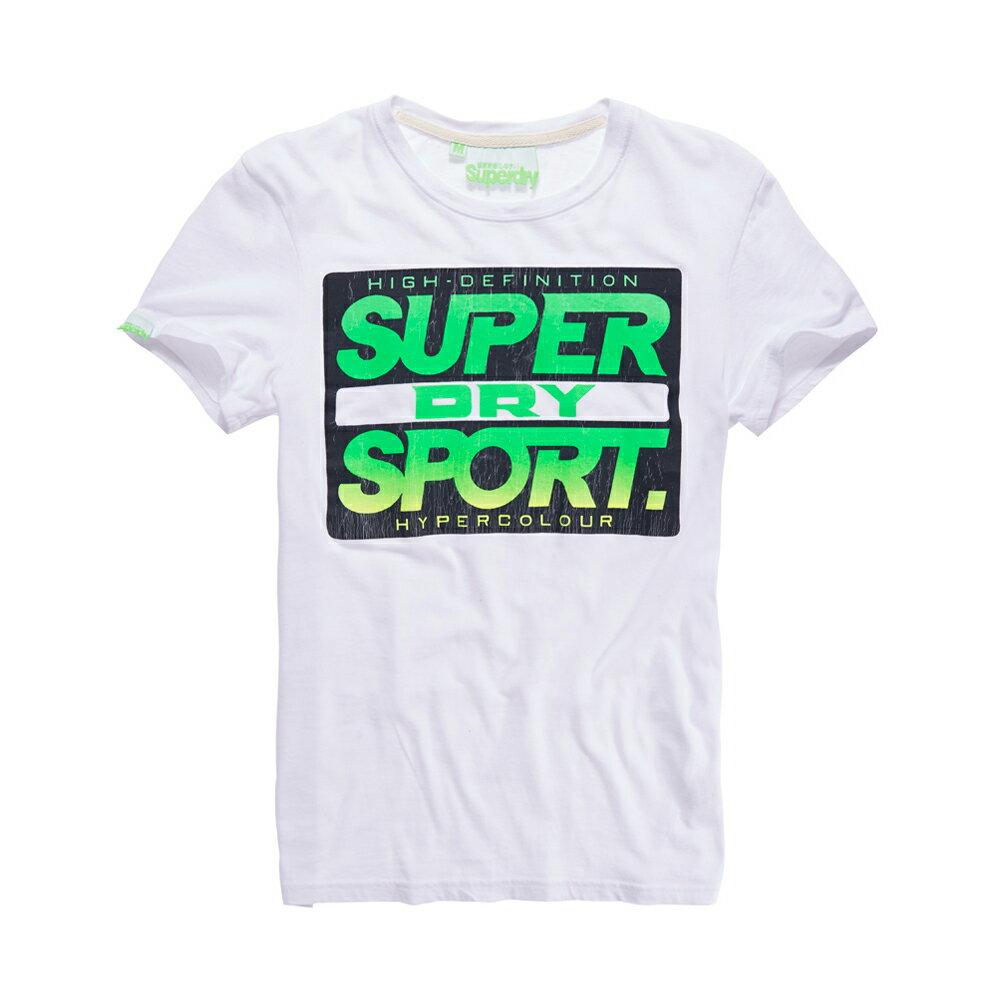 美國百分百【Superdry】極度乾燥 T恤 上衣 T-shirt 短袖 短T 圓領 復古 霓虹 螢光綠 白色 L XL XXL號 F340