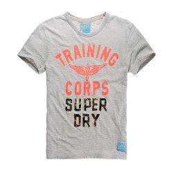 美國百分百【Superdry】極度乾燥 T恤 上衣 T-shirt 短袖 短T 圓領 復古 迷彩 灰色 L號 F341
