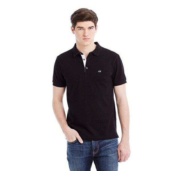 美國百分百【Armani Exchange】polo衫 AX 短袖 上衣 素面 網眼 翻領 黑色 男 S號 F360