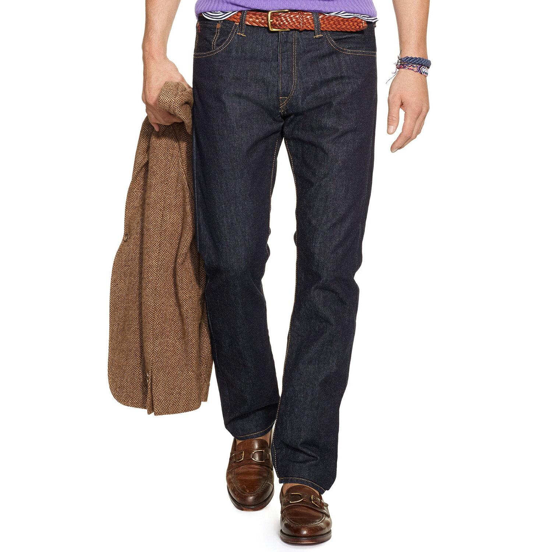 美國百分百【Ralph Lauren】RL 牛仔褲 POLO 深藍 直筒 長褲 休閒褲 單寧 32腰 C496