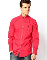美國百分百【Ralph Lauren】襯衫 RL 長袖 上衣 Polo 小馬 紅色 男衣 商務 素面 L號 C703