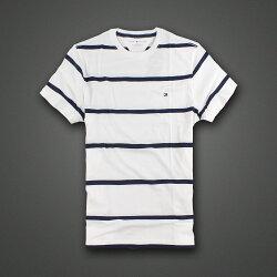 美國百分百【Tommy Hilfiger】T恤 TH 男 圓領 T-shirt 短袖 條紋 白 深藍 S號 E675